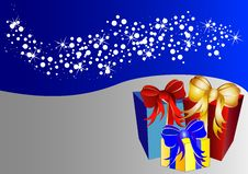 Free Christmas Background With Stars And Present Royalty Free Stock Images - 10189909