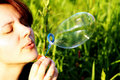 Free A Woman Is Blowing A  Bubble Stock Image - 10198271