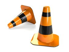 Free Two Traffic Cones Royalty Free Stock Photography - 10190417