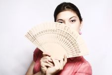 Free Portrait Of The Girl With A Fan. Royalty Free Stock Photo - 10190755