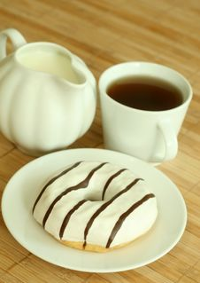 Breakfast. Cup Of Tea And Donut. Royalty Free Stock Photo