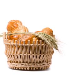 Free Fresh Baked Rolls In A Basket On White Stock Image - 10190931
