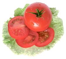 Free Tomato On Salad Leaf Stock Images - 10192054