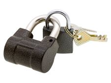 Free Two Padlocks And Keys Isolated On White Royalty Free Stock Images - 10192069