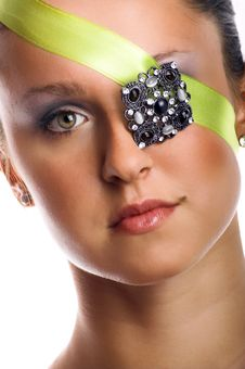 Woman With Jewel On Her Eye Stock Photos