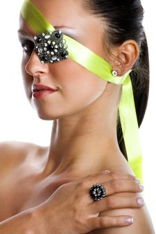 Woman With Jewel On Her Eye Stock Photography