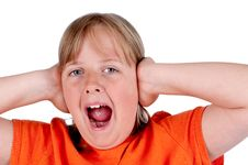 Free A Young Girl Screaming And Covering Her Ears Royalty Free Stock Photos - 10193268
