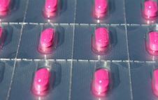 Blister Pack Of Pink Pills Royalty Free Stock Photos