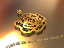 Free 18K Gold Rose Pendant Stock Image - 10195991