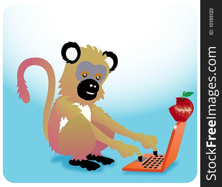 Monkey apple laptop