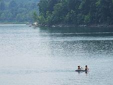 Free Two Boys On Raft Stock Image - 1023371