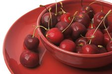 Free Cherries In Red Bowl Royalty Free Stock Image - 1026516