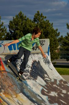 Boy At The Skate Park Stock Photography