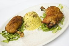 Chicken Legs With Rice Garnish Stock Photography