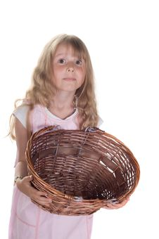 Free Little Girl Playing With Basket Royalty Free Stock Photography - 10200337
