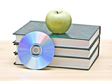 Free Apple, Dvd, And Books Royalty Free Stock Image - 10201026