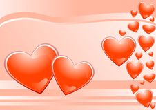 Hearts And Pink Background Royalty Free Stock Images