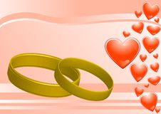 Free Rings On The Pink Background And Hearts Royalty Free Stock Image - 10202036