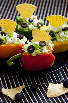 Free Peppers Filled With Salad Stock Photos - 10202373