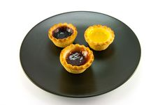 Free Three Jam Tarts On A Plate Stock Photos - 10204003
