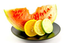 Watermelon With Slice Of Lemon, Lime And Orange Royalty Free Stock Images