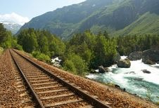 Free Railway In The Mountains Stock Images - 10204584
