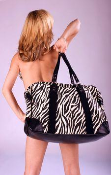 Beautiful Fashion Woman With Big Bag Royalty Free Stock Image