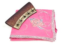 Free Pink Saree With Purse Royalty Free Stock Photos - 10205338