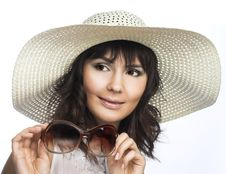 Free Young Woman In White Hat Stock Image - 10205821