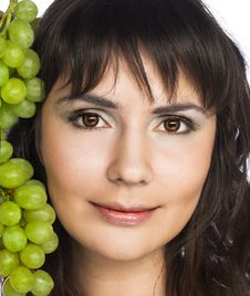 Free Woman With Grapes Royalty Free Stock Image - 10205856