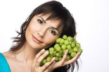 Free Woman With Grapes Royalty Free Stock Photography - 10205857