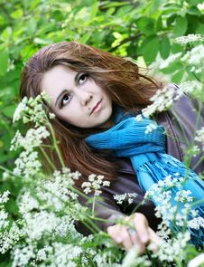 Free Portrait Of Young Woman In Blue Scarf Royalty Free Stock Images - 10206239