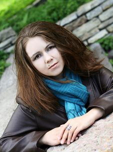 Free Portrait Of Young Woman In Blue Scarf Royalty Free Stock Photos - 10206248