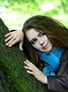 Free Portrait Of Young Woman In Blue Scarf Stock Photography - 10206252