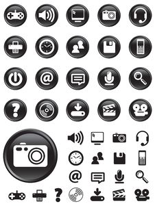 Free Media Icons On Black Buttons Royalty Free Stock Photos - 10206348