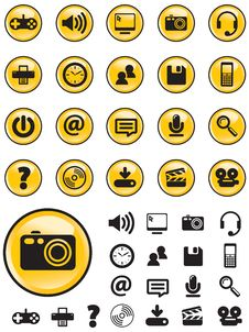 Free Media Icons On Yellow Buttons Stock Photography - 10206402
