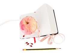 Free Diary With Apple And Pills For Effective Dieting Stock Image - 10206421