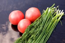 Tomatoes, Onions And Dill Stock Photo