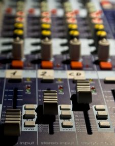 Free Sound Producer Mixer. Faders Of Channels Stock Images - 10207004