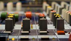 Sound Producer Mixer. Regulators Stock Photo