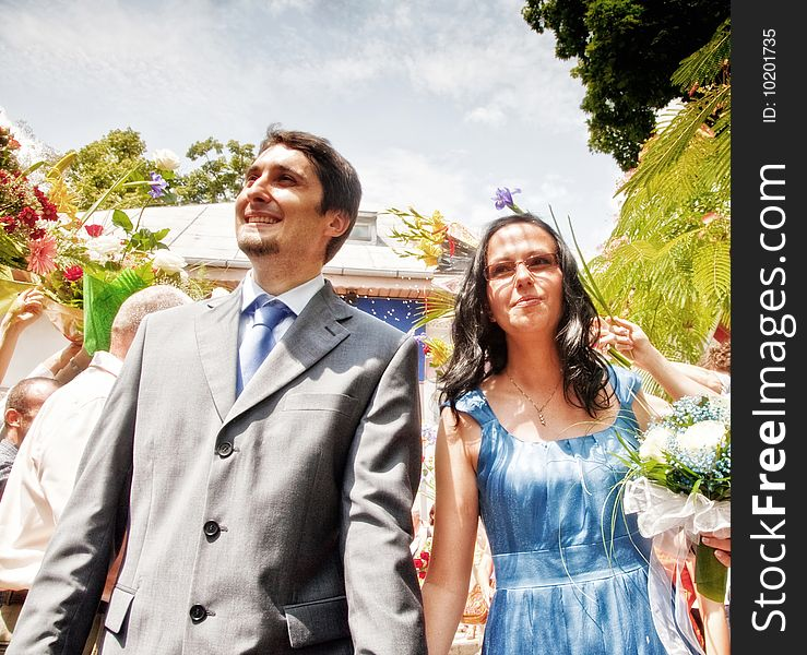 Just married happy couple outdoor
