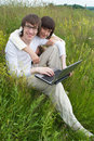Free The Man And Women With Laptop Stock Photo - 10217870