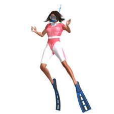 Female Diver With Snorkel Stock Photo