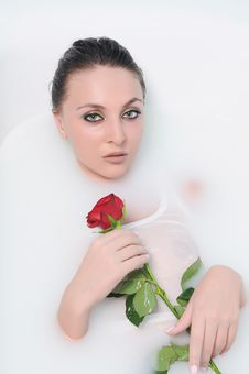 Woman In A Bathroom Stock Photo