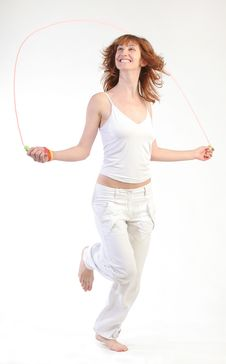 Free Girl Jumping With Skipping Rope Royalty Free Stock Image - 10212326