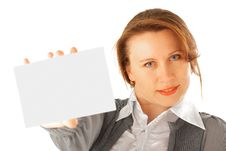 Free Businesswoman With Card Stock Images - 10212874