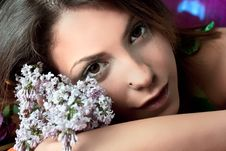 Free Pretty Woman With Flowers  In Summer Time Stock Images - 10213934