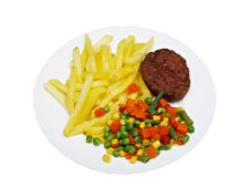Free Cutlet With Fried Potatoes And Salad Stock Photos - 10214303