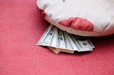 Free Money Under A Pillow Royalty Free Stock Photos - 10216748