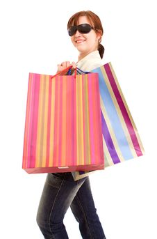 Free Young Woman With Shopping Bags Stock Photo - 10218010